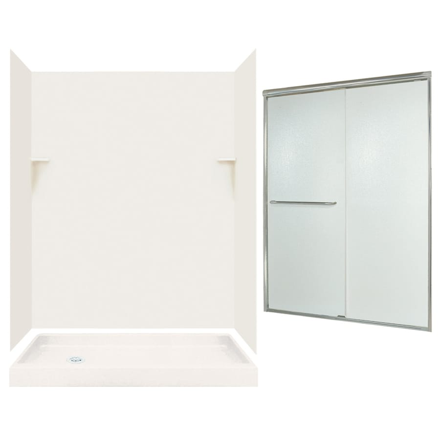 Swanstone Bisque 5 Piece Alcove Shower Kit (Common: 60 In X 32