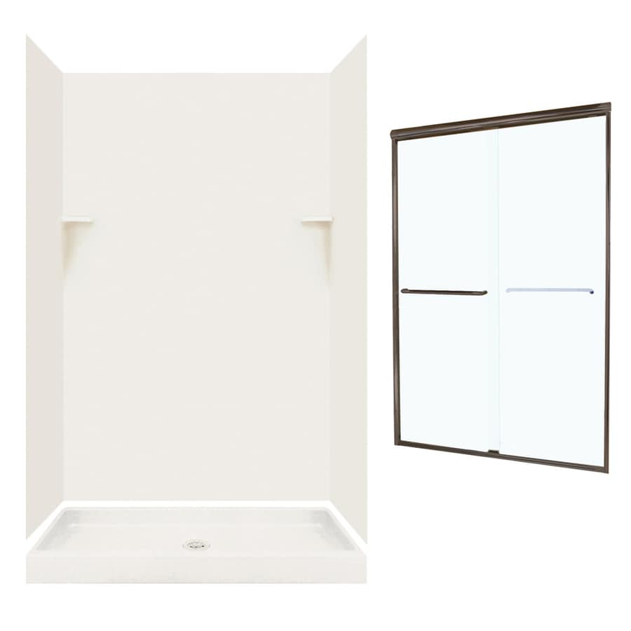 Swanstone Bisque 5-Piece Alcove Shower Kit (Common: 48-in x 34-in; Actual: 72-in x 47-in x 33.125-in)