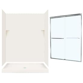 swanstone solid surface wall and floor 5piece alcove shower kit common 60