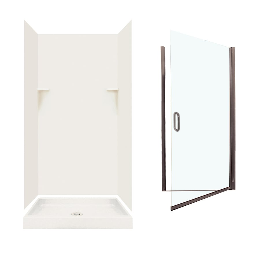Swanstone Bisque 5-Piece Alcove Shower Kit (Common: 36-in x 36-in; Actual: 35-in x 35.125-in)