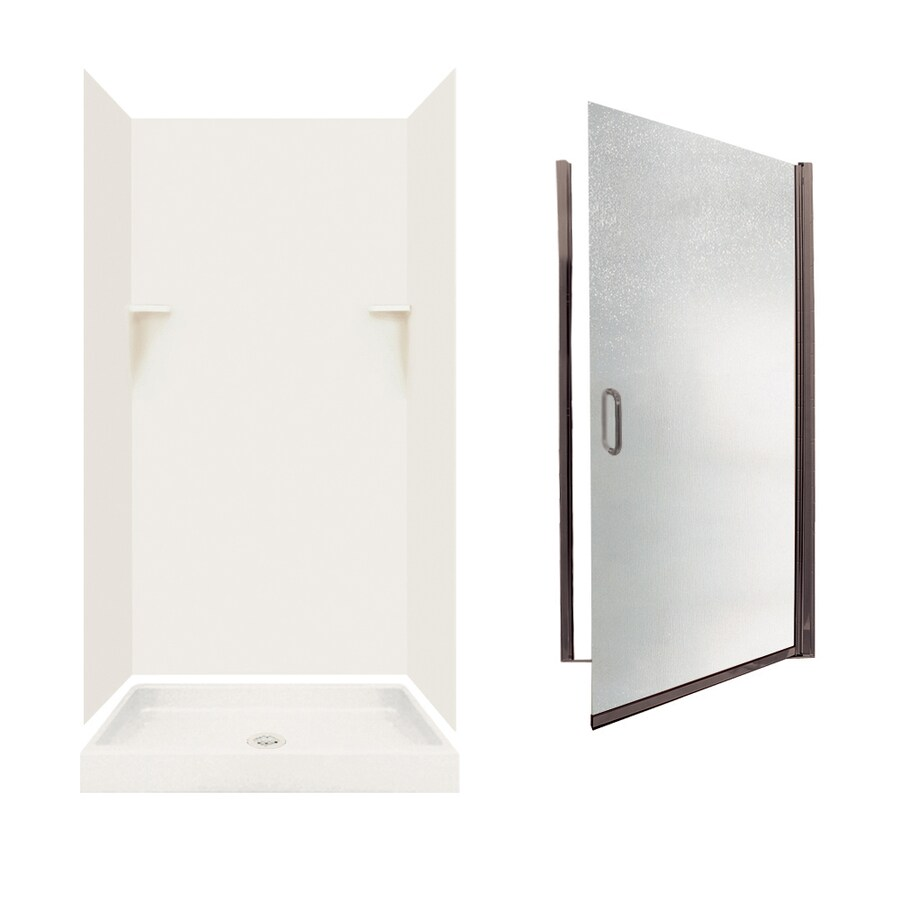 Swanstone Bisque 5-Piece Alcove Shower Kit (Common: 36-in x 36-in; Actual: 72-in x 35-in x 35.125-in)