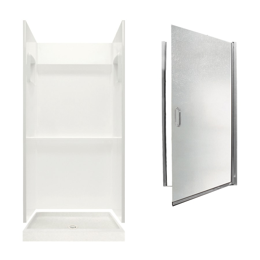 Swanstone Veritek Bisque Fiberglass/Plastic Wall and Floor 3-Piece Alcove Shower Kit (Common: 32-in x 32-in; Actual: 73.25-in x 32-in x 32-in)
