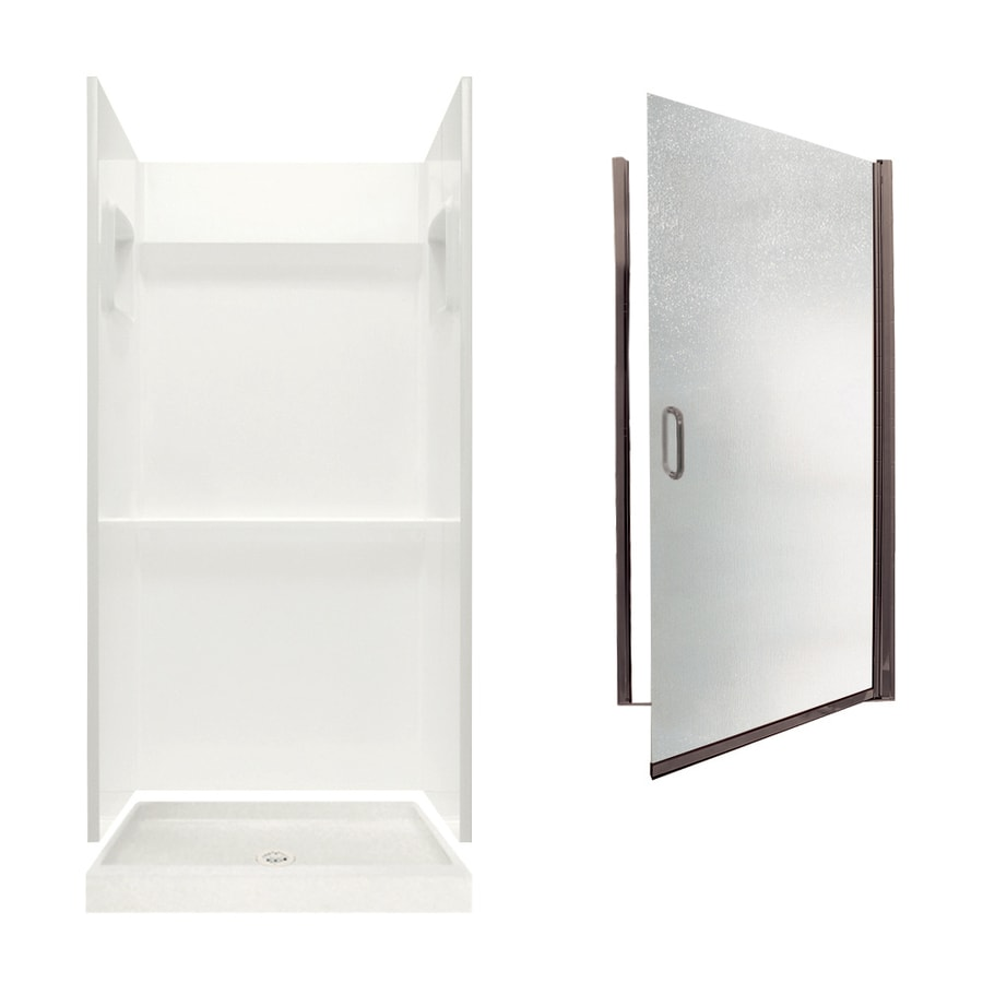 Swanstone Veritek Bisque Fiberglass/Plastic Wall and Floor 3-Piece Alcove Shower Kit (Common: 36-in x 36-in; Actual: 73.25-in x 36-in x 36-in)