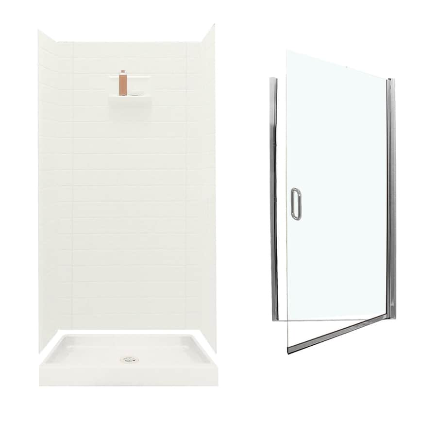 Swanstone Veritek Bisque Fiberglass/Plastic Wall and Floor 5-Piece Alcove Shower Kit (Common: 36-in x 36-in; Actual: 71.625-in x 34.6875-in x 34.75-in)