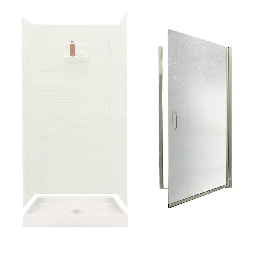 Swanstone Veritek Bisque Fiberglass/Plastic Wall and Floor 5-Piece Alcove Shower Kit (Common: 36-in x 36-in; Actual: 71.625-in x 34.6875-in x 34.75-in)