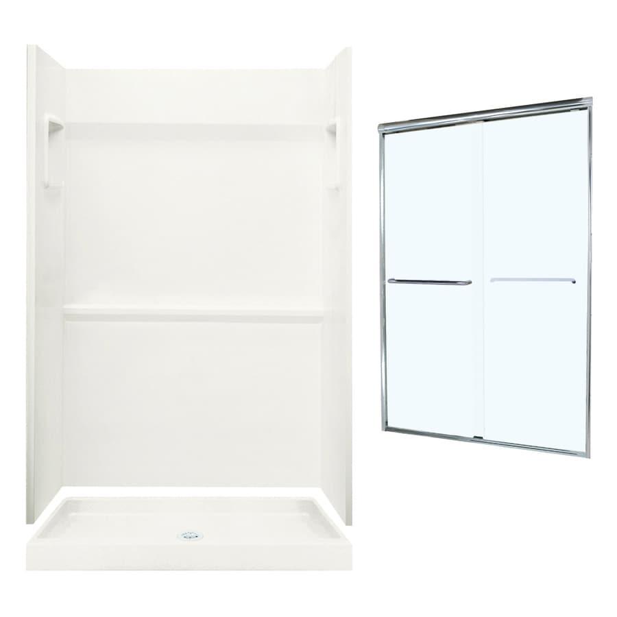 Swanstone Veritek Bisque Fiberglass/Plastic Wall and Floor 3-Piece Alcove Shower Kit (Common: 48-in x 34-in; Actual: 73.25-in x 48-in x 34-in)
