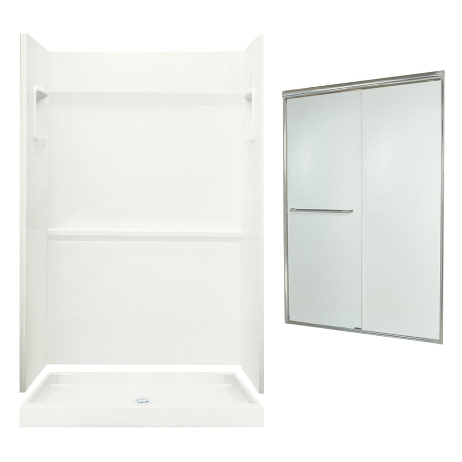 Swanstone Veritek Bisque 3-Piece Alcove Shower Kit (Common: 48-in x 34-in; Actual: 73.25-in x 48-in x 34-in)