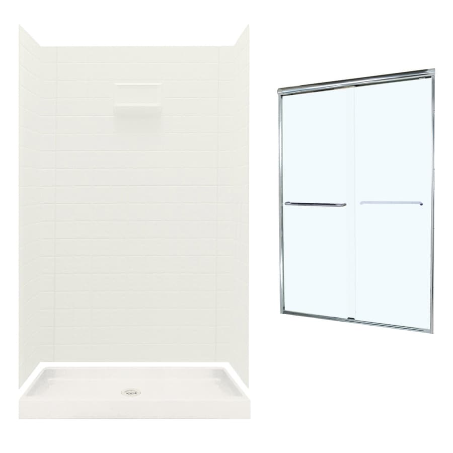 swanstone veritek bisque wall and floor 5piece alcove shower kit