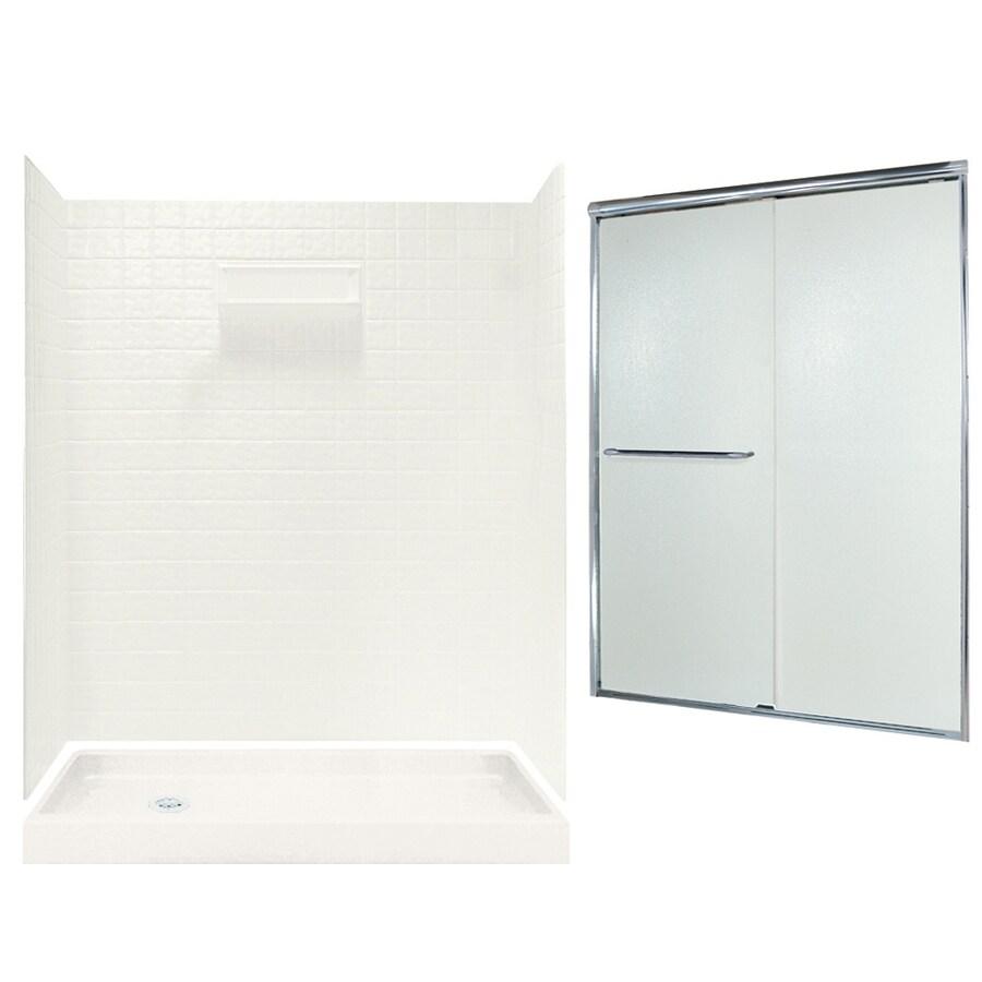 Swanstone Veritek Bisque Fiberglass/Plastic Wall and Floor 5-Piece Alcove Shower Kit (Common: 60-in x 32-in; Actual: 71.625-in x 58.6875-in x 34.75-in)