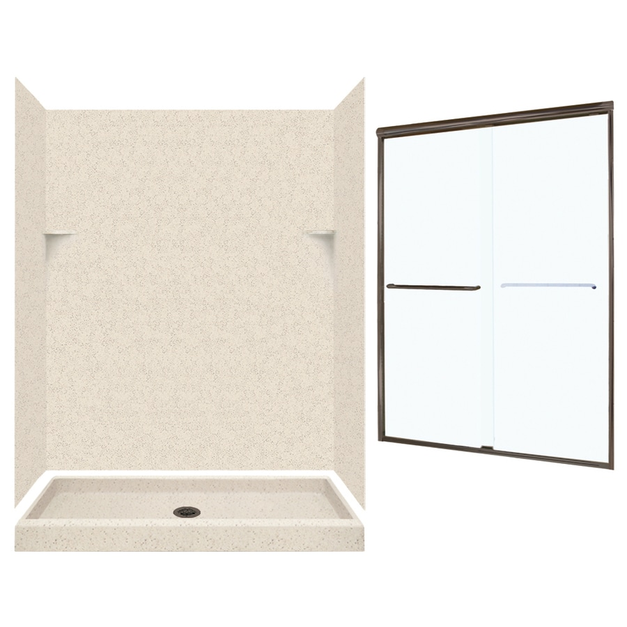 Swanstone Tahiti Desert Solid Surface Wall and Floor 5-Piece Alcove Shower Kit (Common: 60-in x 34-in; Actual: 72-in x 59-in x 33.125-in)