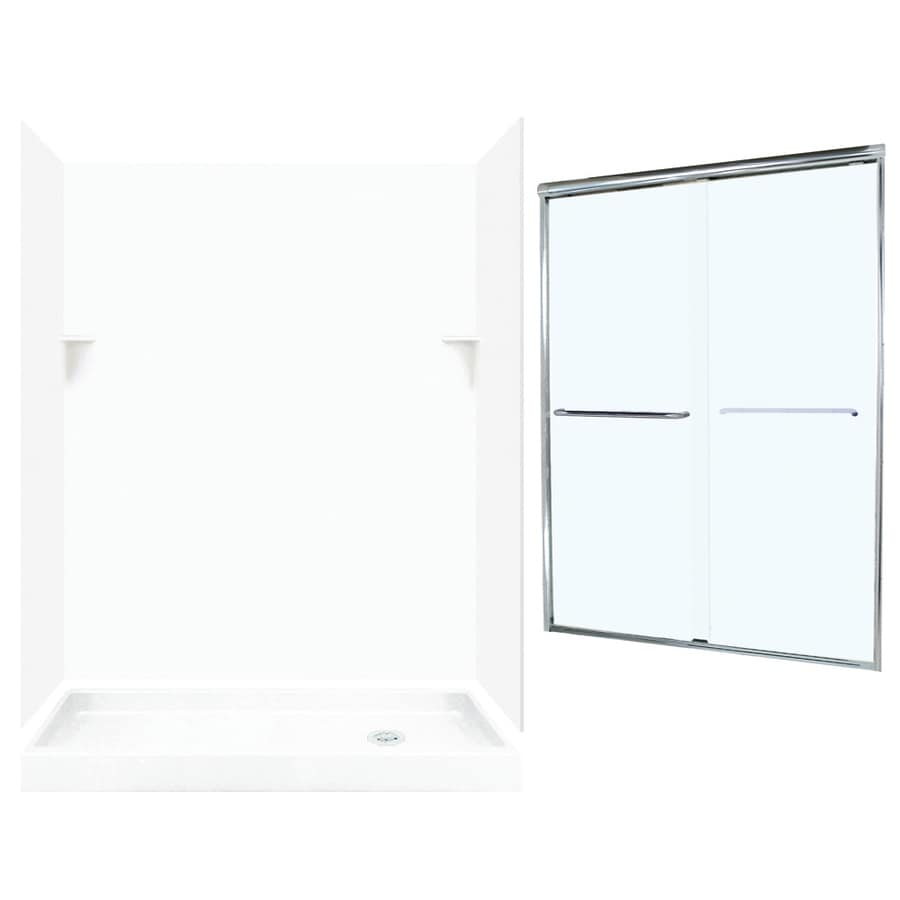 Swanstone White 5-Piece Alcove Shower Kit (Common: 60-in x 32-in; Actual: 72-in x 59-in x 31.125-in)