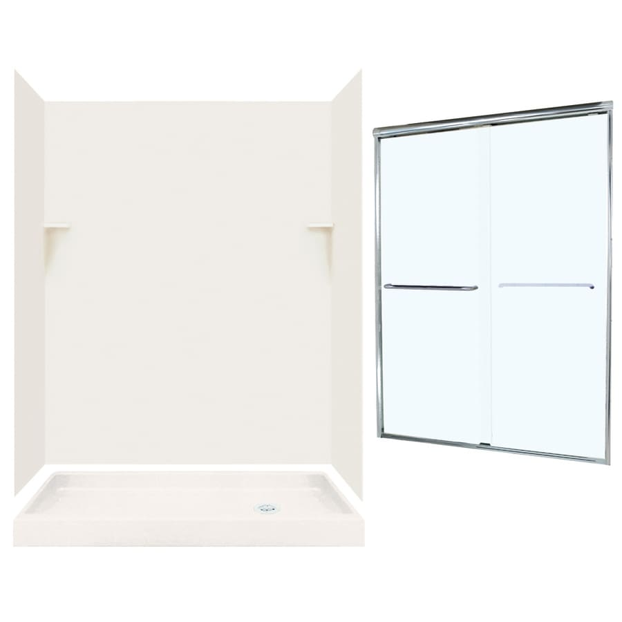 Swanstone Bisque 5-Piece Alcove Shower Kit (Common: 60-in x 32-in; Actual: 59-in x 31.125-in)
