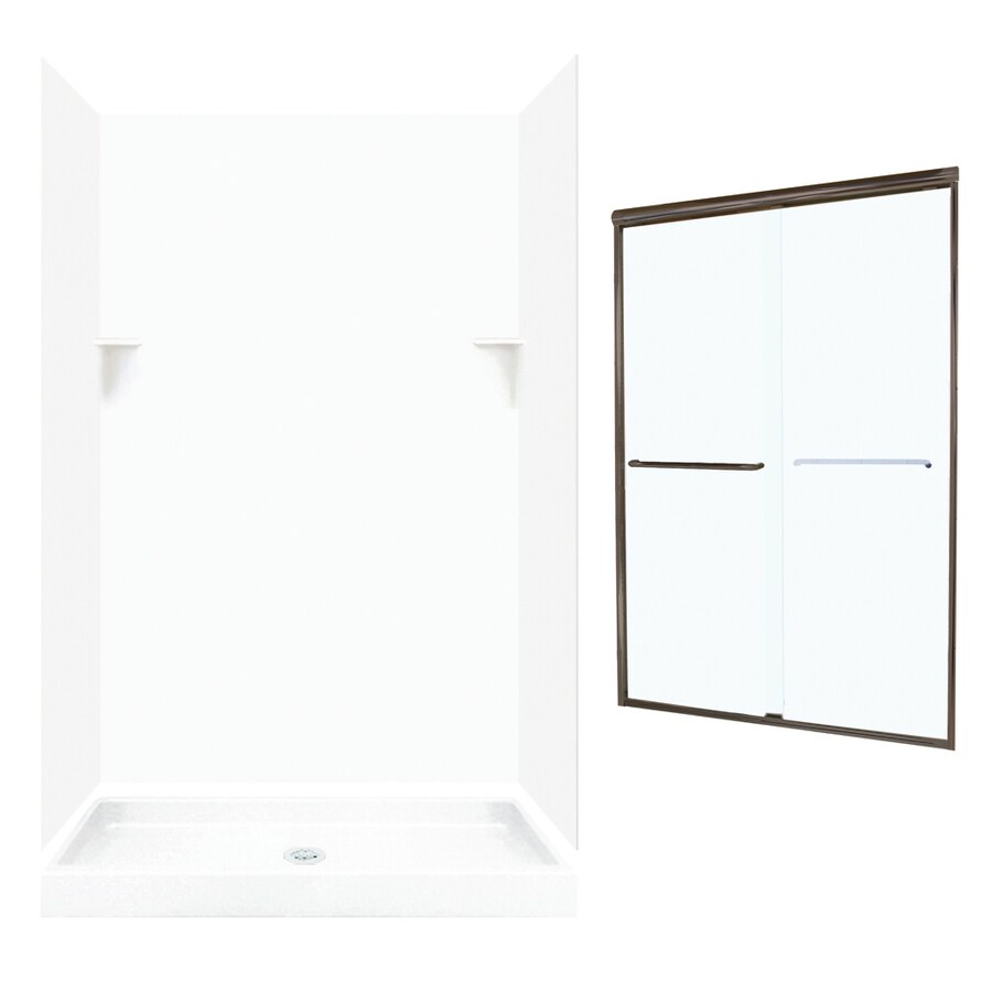Swanstone White Solid Surface Wall and Floor 5-Piece Alcove Shower Kit (Common: 48-in x 32-in; Actual: 72-in x 47-in x 31.125-in)