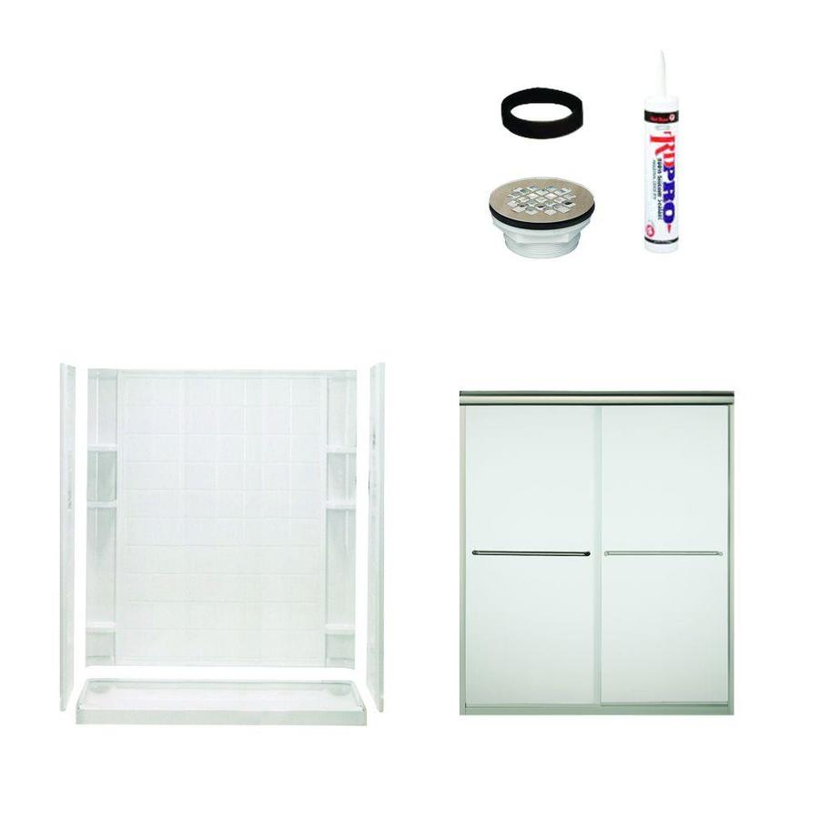Sterling Ensemble White Vikrell Wall Vikrell Floor 5-Piece Alcove Shower Kit (Common: 60-in x 34-in; Actual: 73.75-in x 60-in x 34-in)