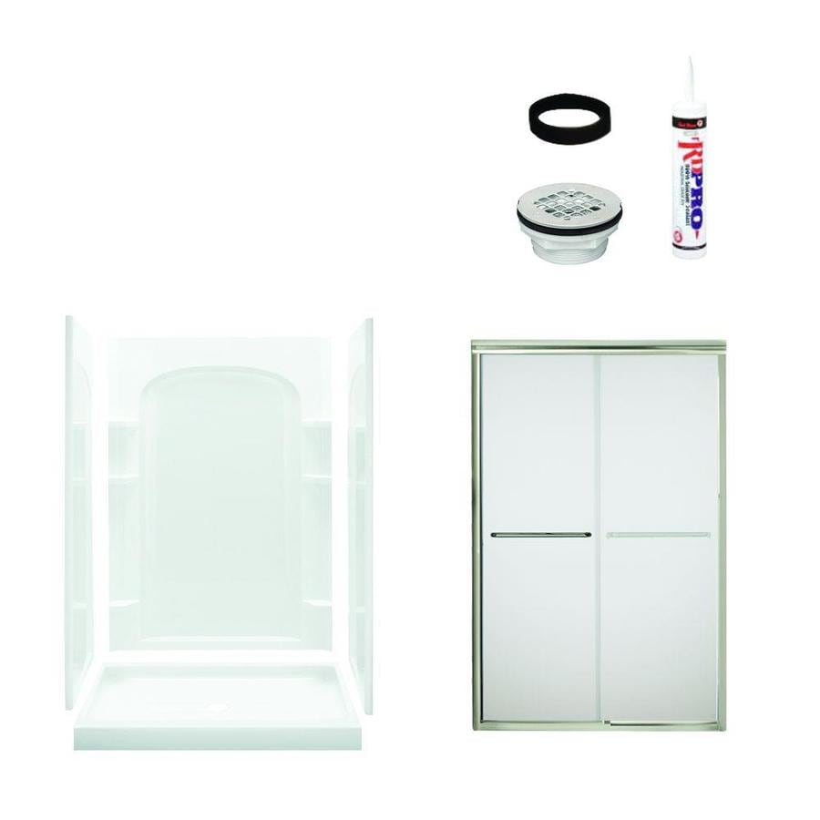 Sterling Ensemble White Vikrell Wall and Floor 5-Piece Alcove Shower Kit (Common: 48-in x 34-in; Actual: 75.75-in x 48-in x 34-in)
