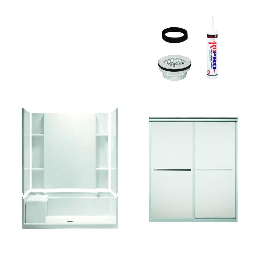 Sterling Accord White Vikrell Wall and Floor 5-Piece Alcove Shower Kit (Common: 60-in x 36-in; Actual: 73.5-in x 60-in x 36-in)