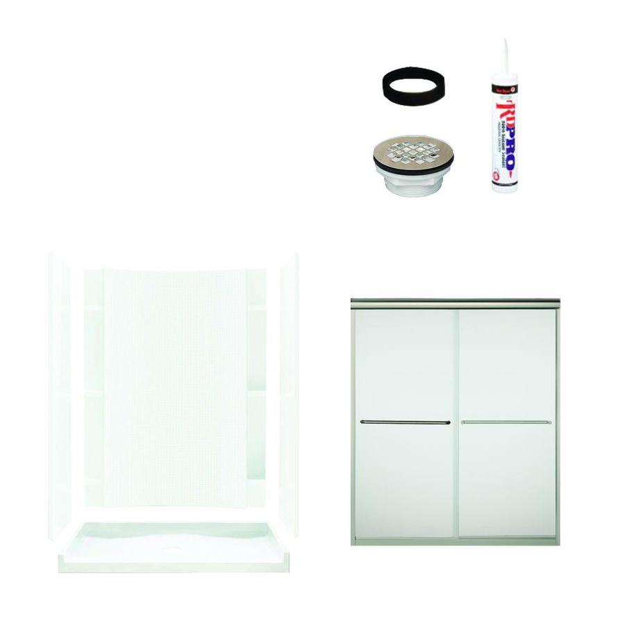Sterling Accord White Vikrell Wall and Floor 5-Piece Alcove Shower Kit (Common: 60-in x 36-in; Actual: 77-in x 60-in x 36-in)