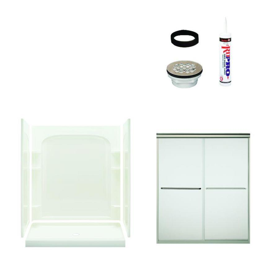 Sterling Ensemble White Vikrell Wall and Floor 5-Piece Alcove Shower Kit (Common: 60-in x 34-in; Actual: 73.75-in x 60-in x 34-in)