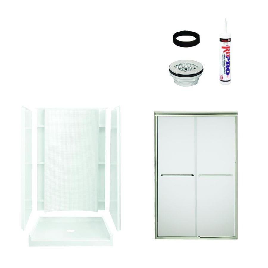 Sterling Accord White Vikrell Wall and Floor 5-Piece Alcove Shower Kit (Common: 48-in x 36-in; Actual: 77-in x 48-in x 36-in)