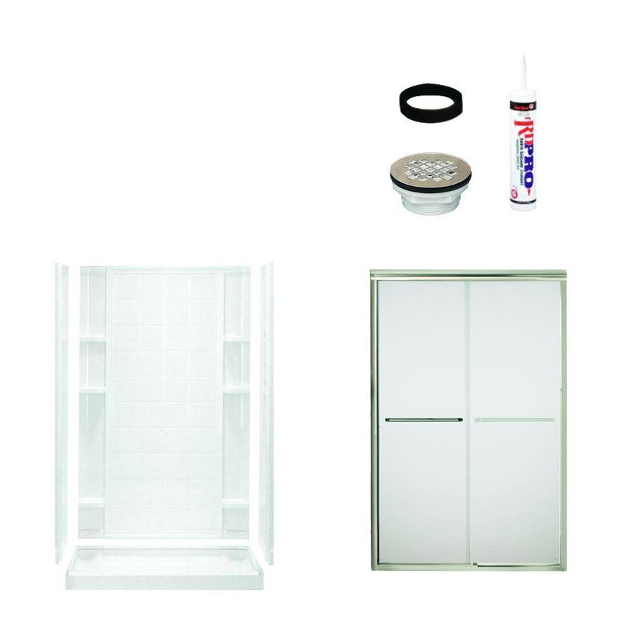 Sterling Ensemble White 5-Piece Alcove Shower Kit (Common: 34-in x 48-in; Actual: 34-in x 48-in)