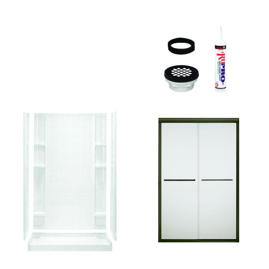 Sterling Ensemble White Vikrell Wall Vikrell Floor 5-Piece Alcove Shower Kit (Common: 48-in x 34-in; Actual: 75.75-in x 48-in x 34-in)