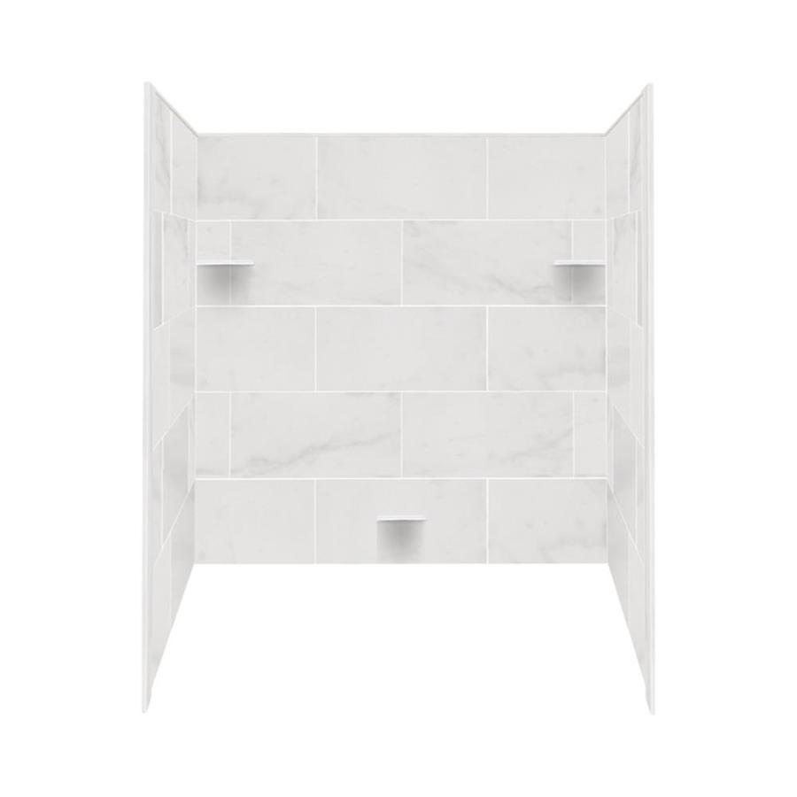 Shop Style Selections White Carrara Solid Surface Bathtub Wall ...