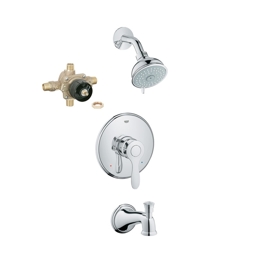 GROHE Parkfield Starlight Chrome 1-Handle Bathtub and Shower Faucet with Multi-Function Showerhead