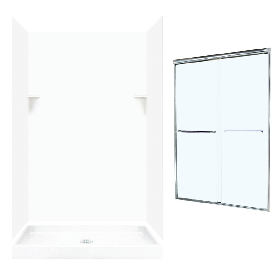 Swanstone White 5-Piece Alcove Shower Kit (Common: 48-in x 32-in; Actual: 47-in x 31.125-in)