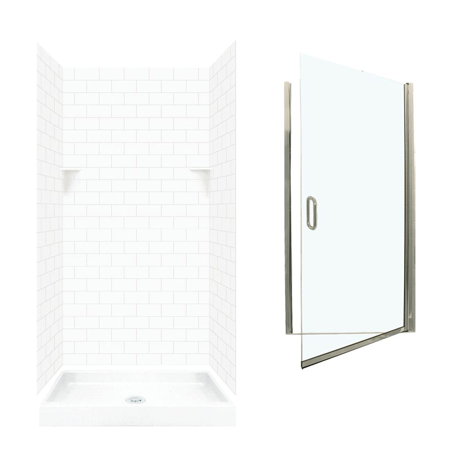 Swanstone White 5-Piece Alcove Shower Kit (Common: 36-in x 36-in; Actual: 72.5-in x 36-in x 36-in)