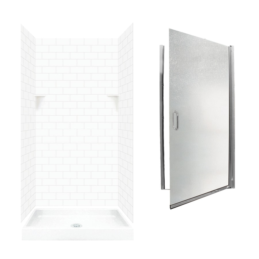 Swanstone White 5-Piece Alcove Shower Kit (Common: 36-in x 36-in; Actual: 36-in x 36-in)