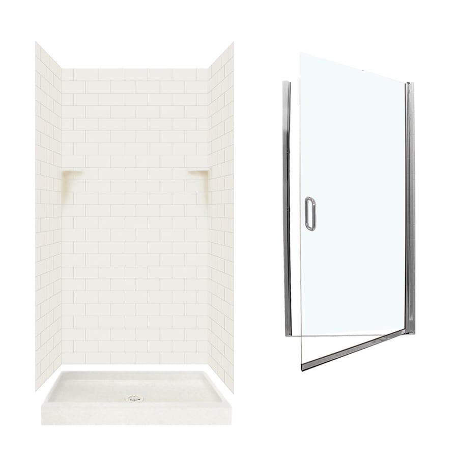 Swanstone Bisque 5-Piece Alcove Shower Kit (Common: 36-in x 36-in; Actual: 72.5-in x 36-in x 36-in)