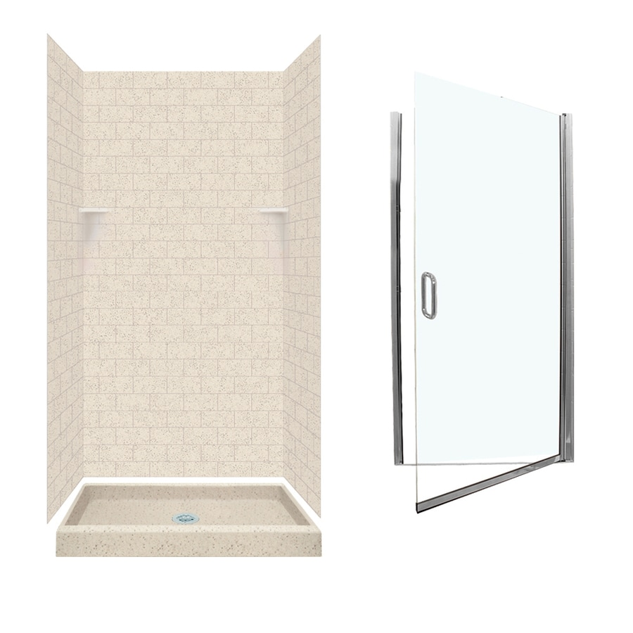 Swanstone Tahiti Desert Solid Surface Wall and Floor 5-Piece Alcove Shower Kit (Common: 36-in x 36-in; Actual: 72.5-in x 36-in x 36-in)