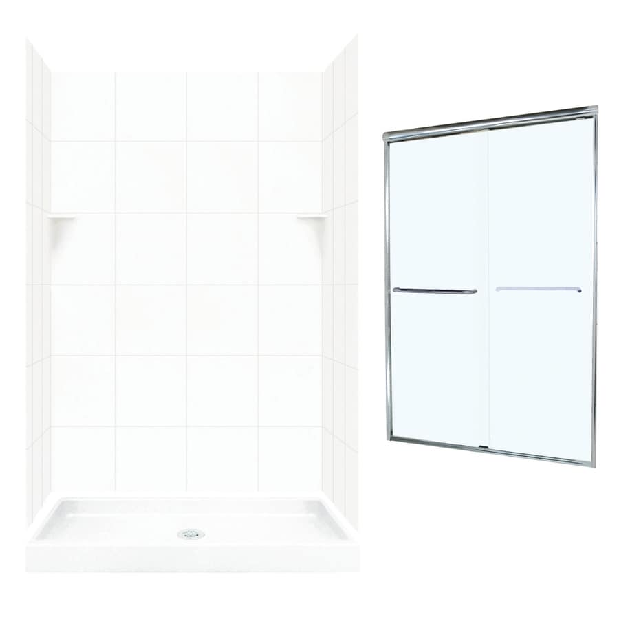 Swanstone White 5-Piece Alcove Shower Kit (Common: 48-in x 32-in; Actual: 48-in x 32-in)
