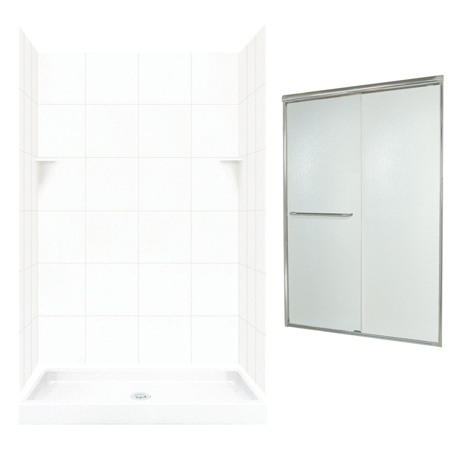 Swanstone White Solid Surface Wall and Floor 5-Piece Alcove Shower Kit (Common: 48-in x 32-in; Actual: 72.5-in x 48-in x 32-in)