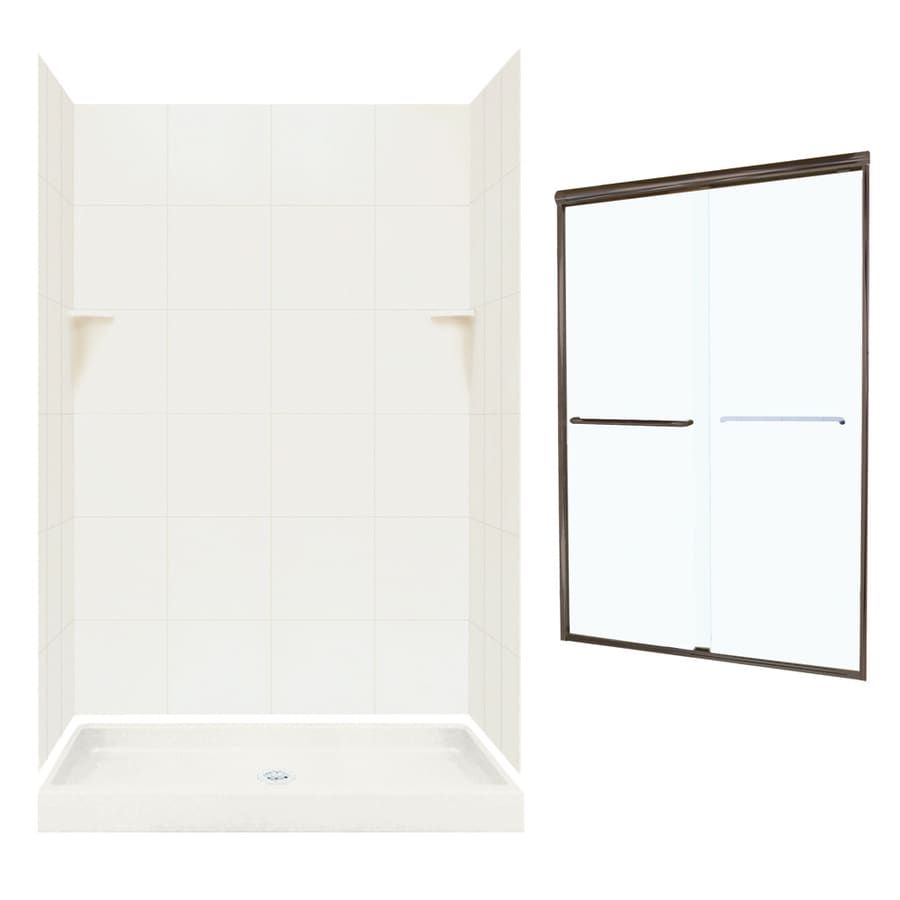 Swanstone Bisque Solid Surface Wall and Floor 5-Piece Alcove Shower Kit (Common: 48-in x 32-in; Actual: 72.5-in x 48-in x 32-in)