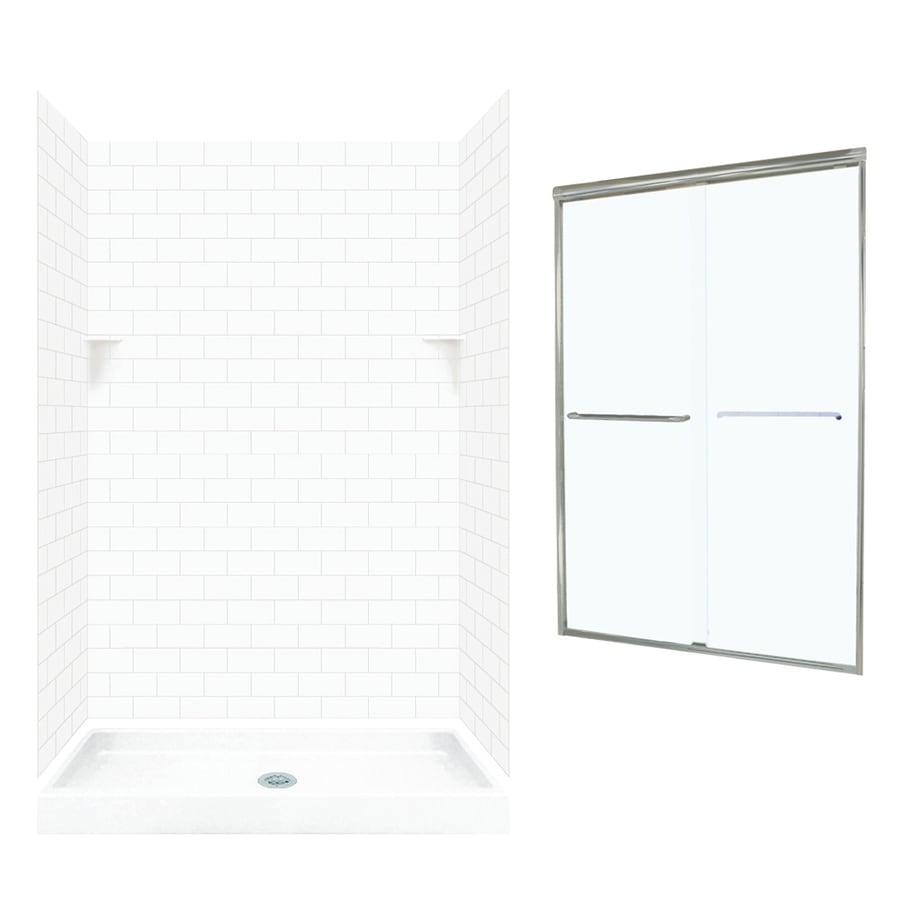 Swanstone White 5-Piece Alcove Shower Kit (Common: 48-in x 32-in; Actual: 72.5-in x 48-in x 32-in)