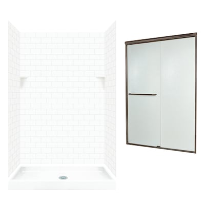 Swan White 5 Piece Alcove Shower Kit Common 32 In X 48