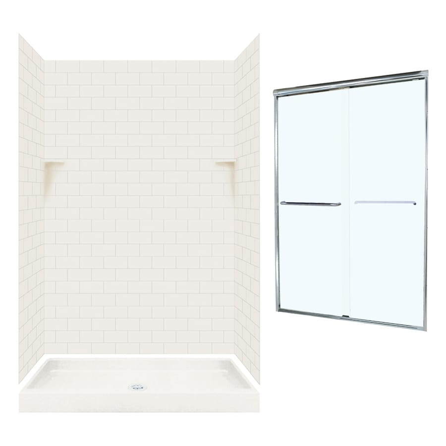 Swanstone Bisque 5-Piece Alcove Shower Kit (Common: 48-in x 32-in; Actual: 72.5-in x 48-in x 32-in)