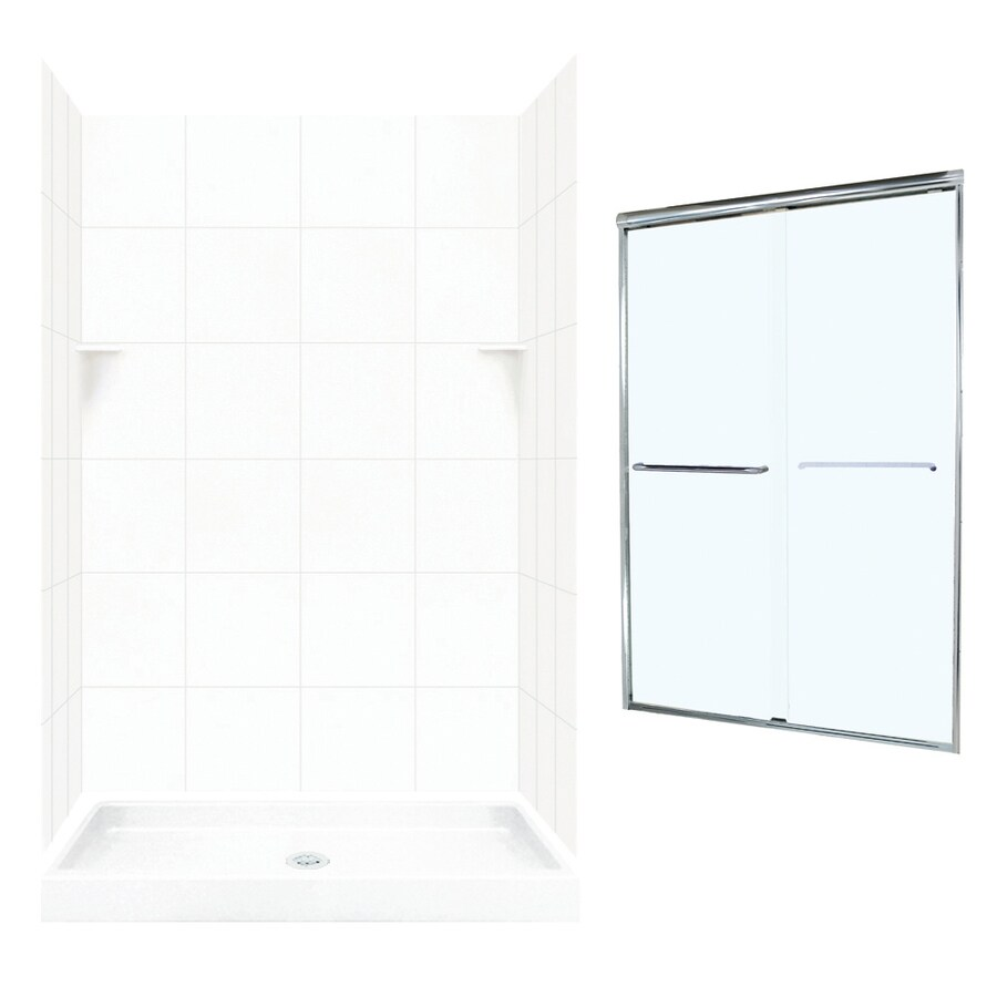 Swanstone White 5-Piece Alcove Shower Kit (Common: 48-in x 34-in; Actual: 72.5-in x 48-in x 34-in)