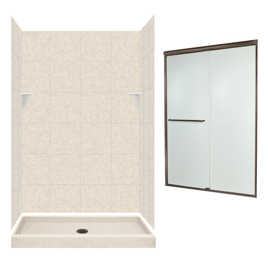 Swanstone Tahiti Desert Solid Surface Wall and Floor 5-Piece Alcove Shower Kit (Common: 48-in x 34-in; Actual: 72.5-in x 48-in x 34-in)