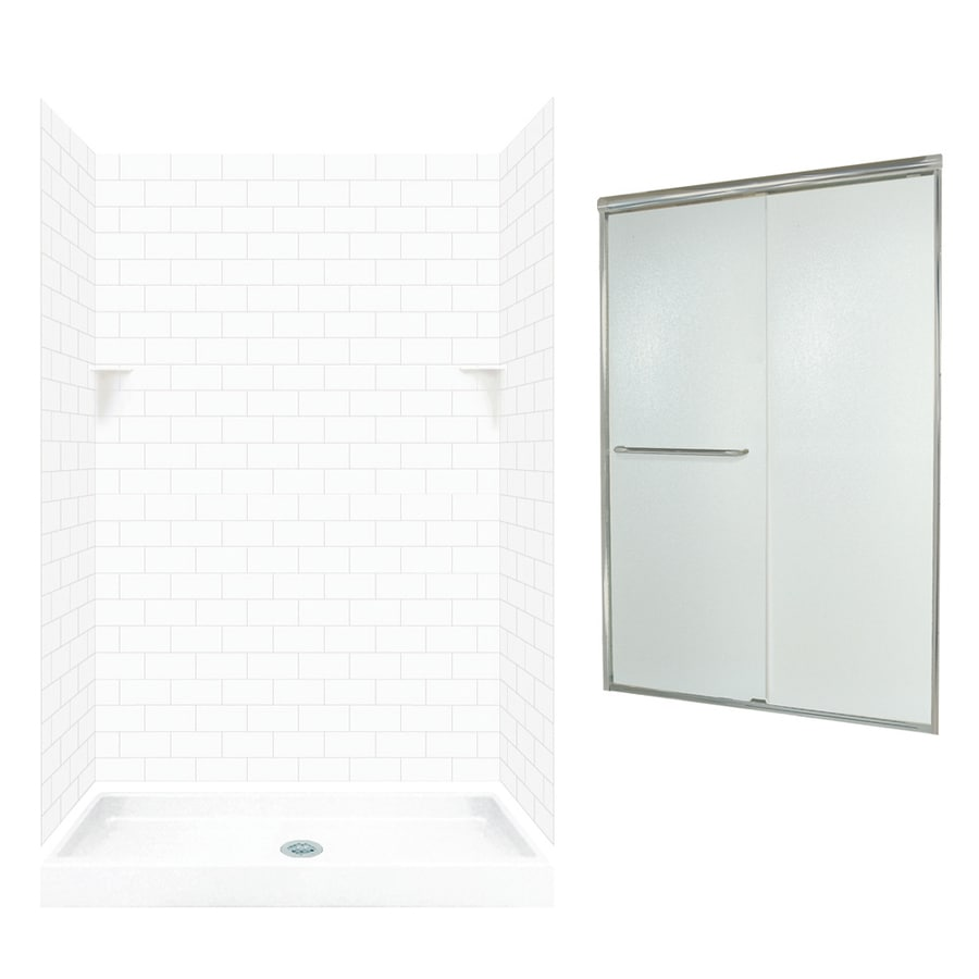 Swanstone White 5-Piece Alcove Shower Kit (Common: 48-in x 34-in; Actual: 48-in x 34-in)