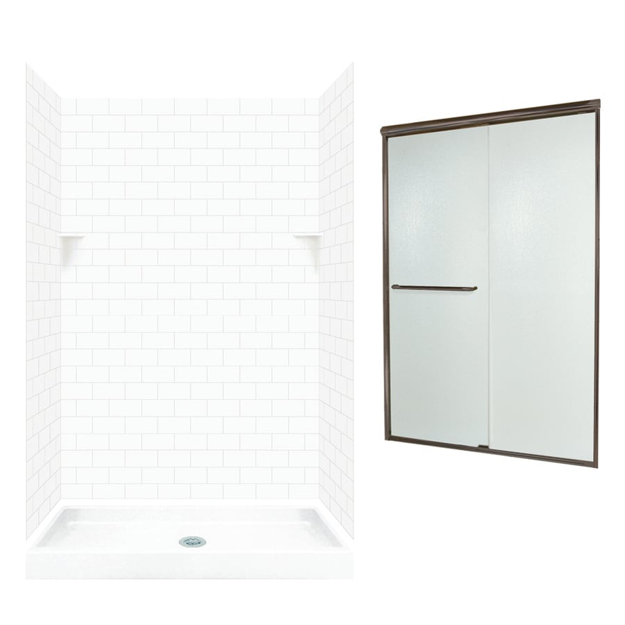 Swanstone White Solid Surface Wall And Floor 5 Piece Alcove Shower Kit  (Common: