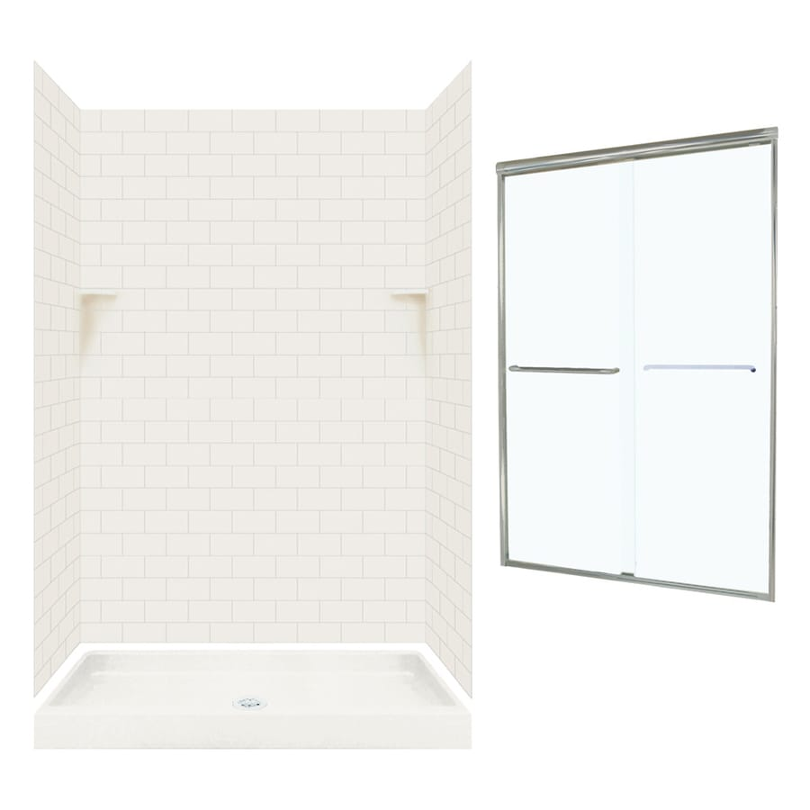 Swanstone Bisque 5-Piece Alcove Shower Kit (Common: 48-in x 34-in; Actual: 72.5-in x 48-in x 34-in)