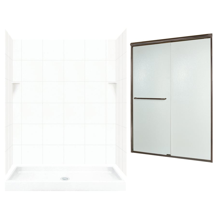 Swanstone White 5-Piece Alcove Shower Kit (Common: 60-in x 34-in; Actual: 60-in x 34-in)