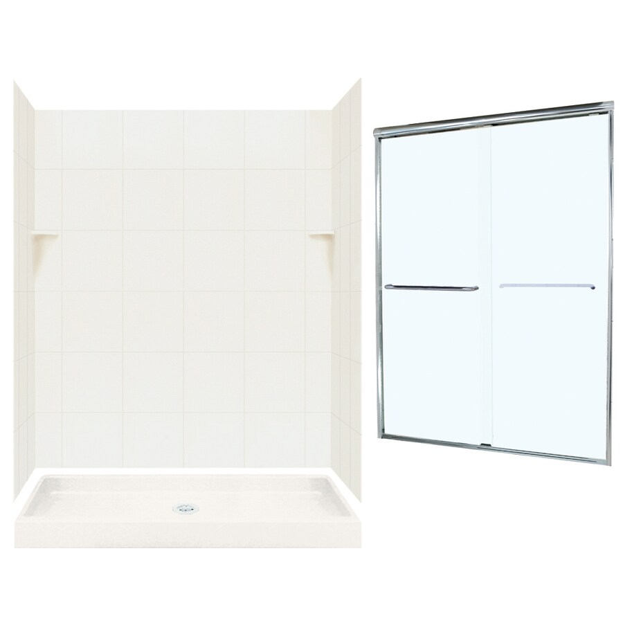 Swanstone Bisque 5-Piece Alcove Shower Kit (Common: 60-in x 34-in; Actual: 60-in x 34-in)