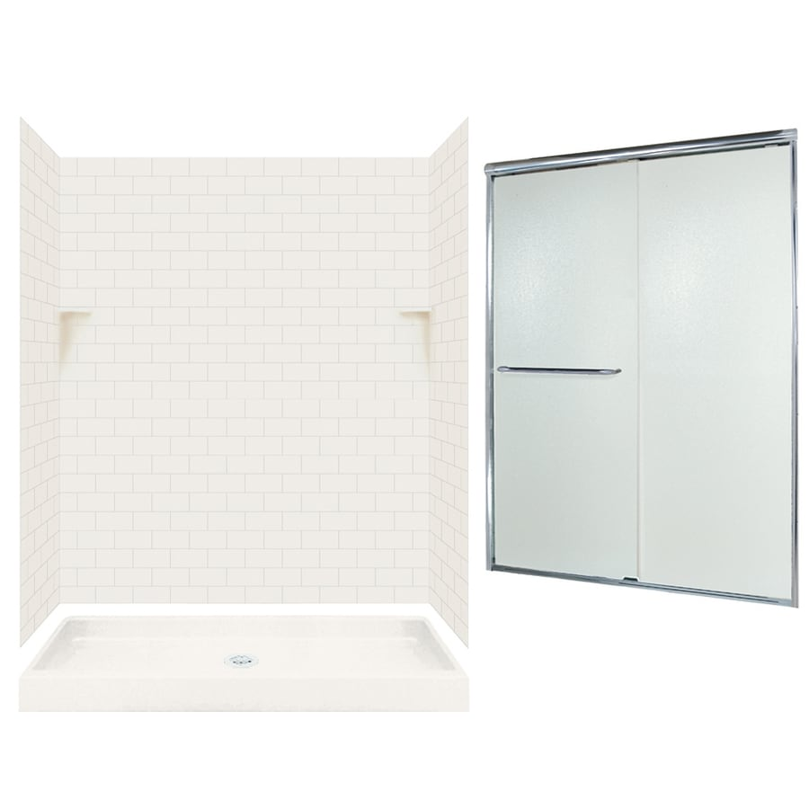 Swanstone Bisque 5-Piece Alcove Shower Kit (Common: 60-in x 34-in; Actual: 72.5-in x 60-in x 34-in)