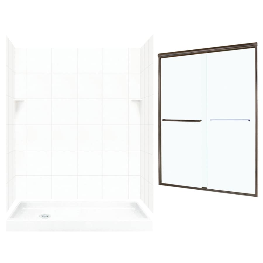Swanstone White 5-Piece Alcove Shower Kit (Common: 60-in x 32-in; Actual: 60-in x 32-in)