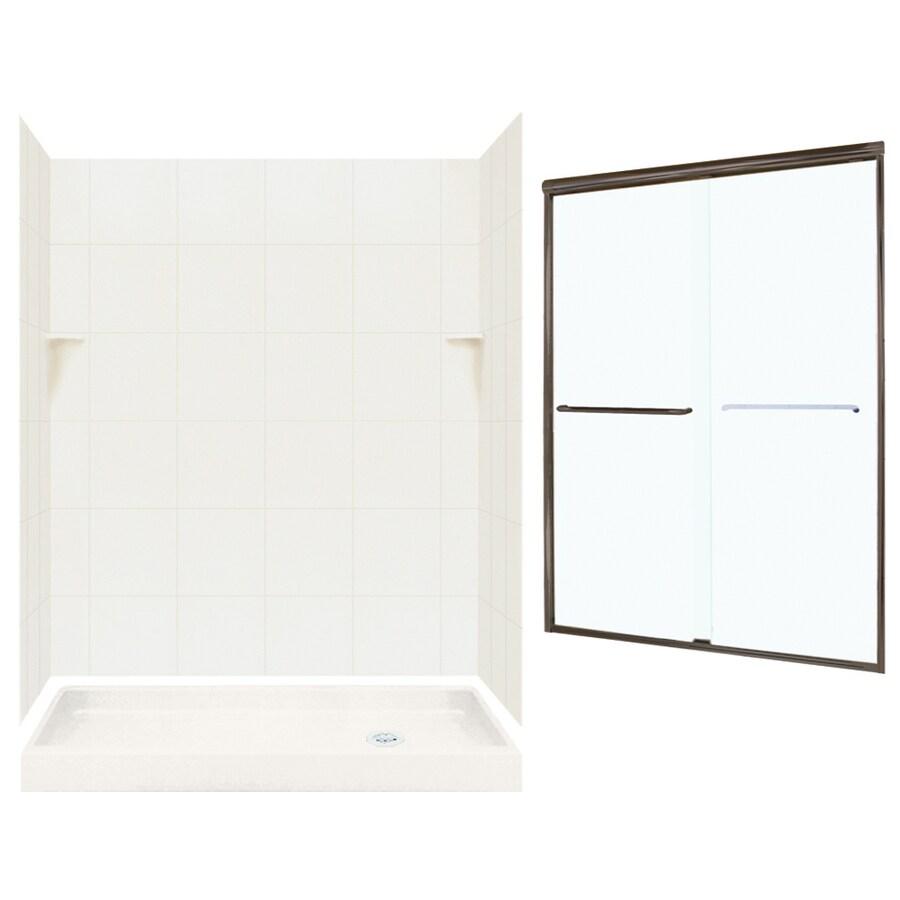 Swanstone Bisque Solid Surface Wall and Floor 5-Piece Alcove Shower Kit (Common: 60-in x 32-in; Actual: 72.5-in x 60-in x 32-in)