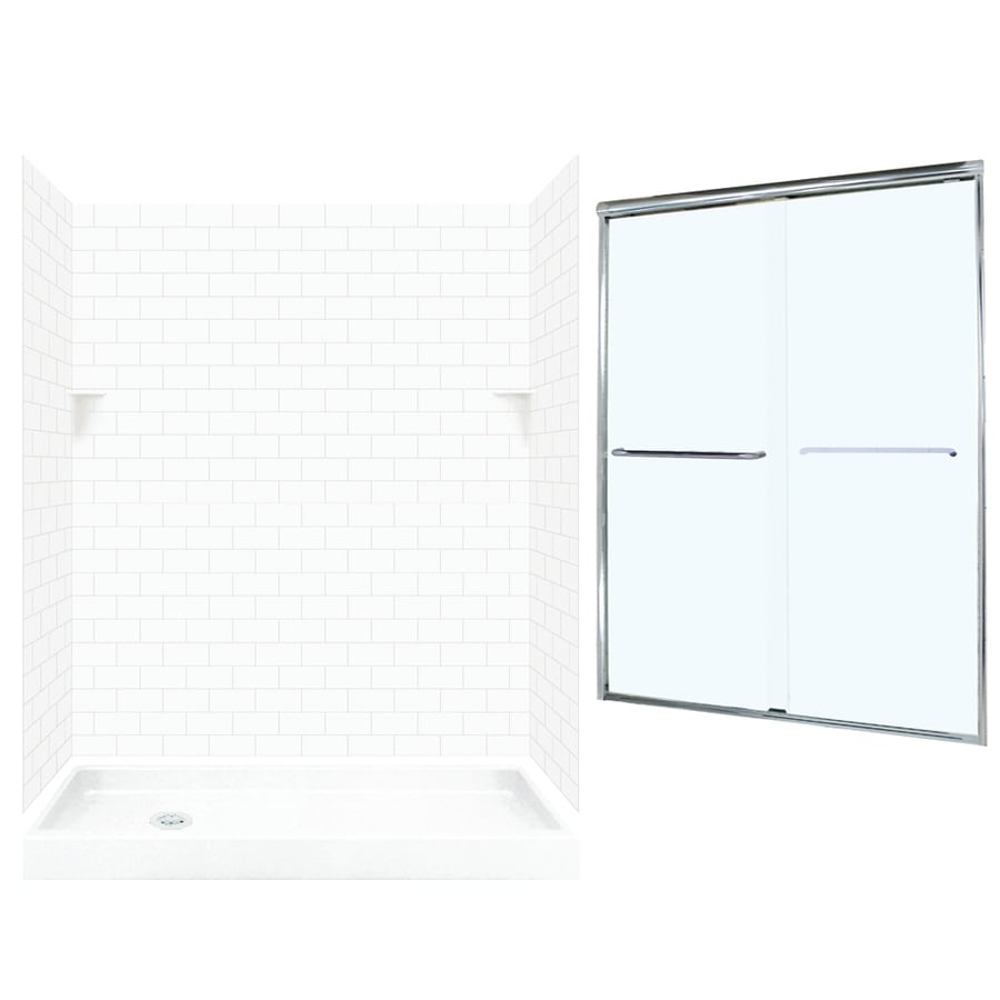 Swanstone White 5-Piece Alcove Shower Kit (Common: 60-in x 32-in; Actual: 72.5-in x 60-in x 32-in)