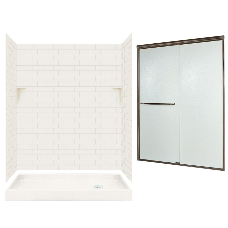 Swanstone Bisque 5-Piece Alcove Shower Kit (Common: 60-in x 32-in; Actual: 72.5-in x 60-in x 32-in)